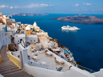 sea view of oia in santorini in cyclades SMALL
